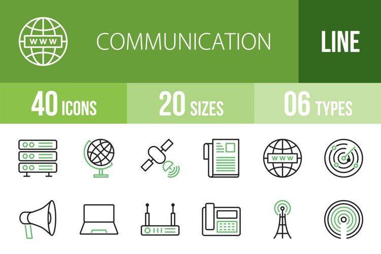 40 Communication Line Green & Black Icons Season II example image 1