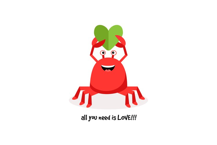 Cartoon crab in love with paper heart example image 1