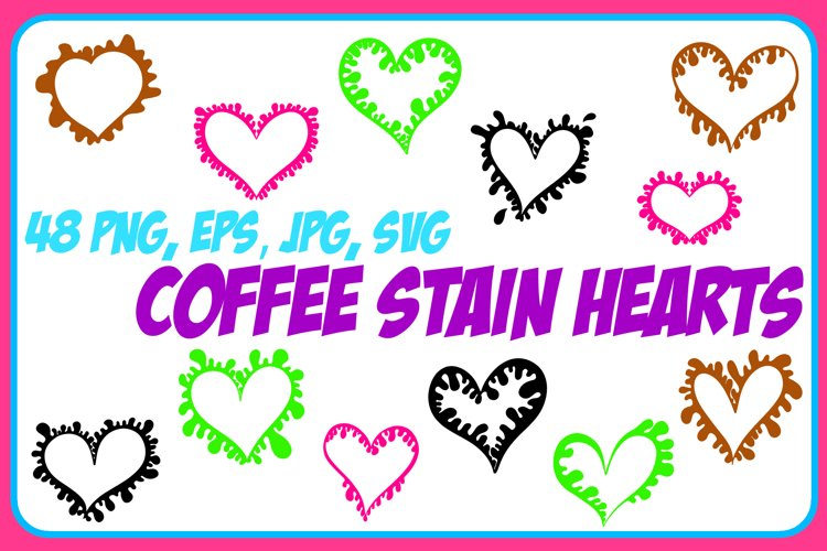 Coffee Cup Stain Drips Hearts Collection ESP, JPG, PNG, SVG example image 1