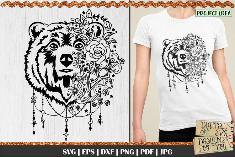 Bear with Flowers SVG   Bear svg   Boho Bear svg   Mama Bear example image 1