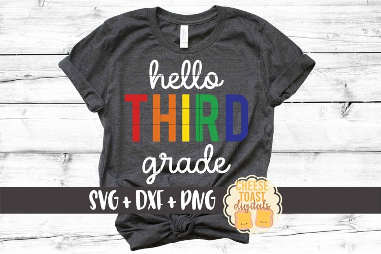 Rainbow Hello Third Grade - Back to School SVG PNG DXF File example image 1