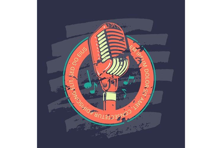 Retro karaoke music club, bar, audio record studio vector lo example image 1