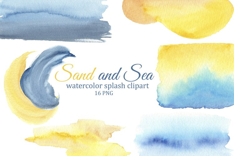 Watercolor splashes and brush strokes, sea & sand background