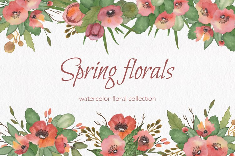 Spring florals. Watercolor floral collection. example image 1