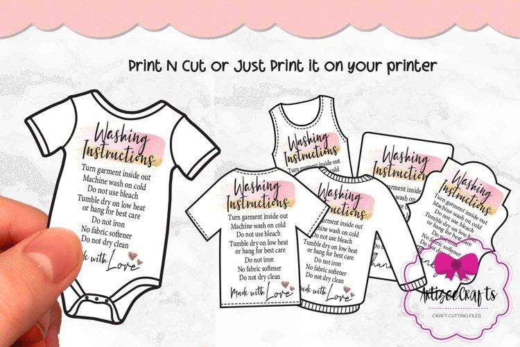 T-shirt Care Card Set, T-Shirt Washing Instructions Card example image 1