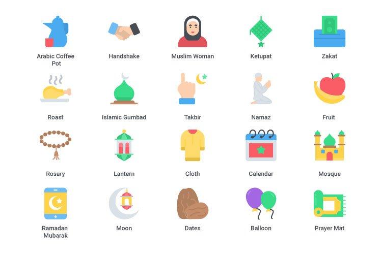 Ramadan Kareem flat icon set