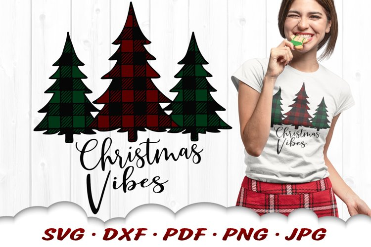 Christmas Vibes Plaid Pine Trees SVG DXF Cut Files example image 1