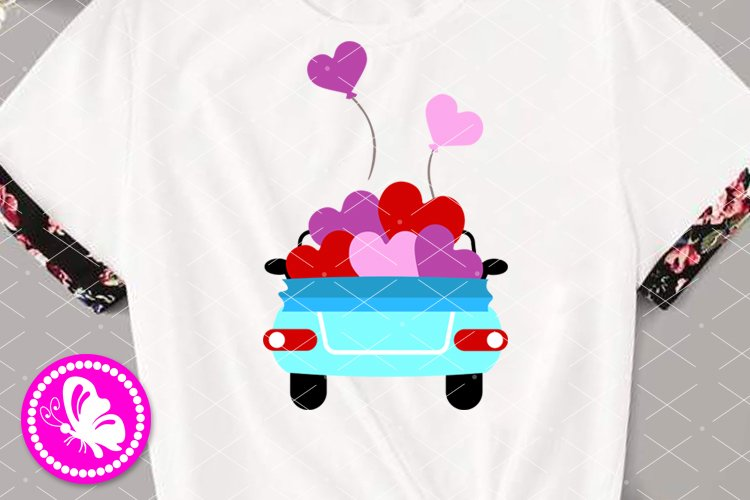 Valentine truck with hearts svg Car Auto party Love Balloons example image 1