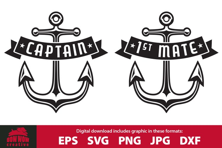 Boat Captain and First Mate Anchor SVG Cuttung File Bundle