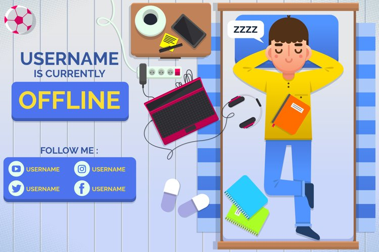 Cute Boy Offline Twitch Banner example image 1