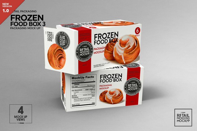 Long Frozen Food Box Packaging Mockup example image 1