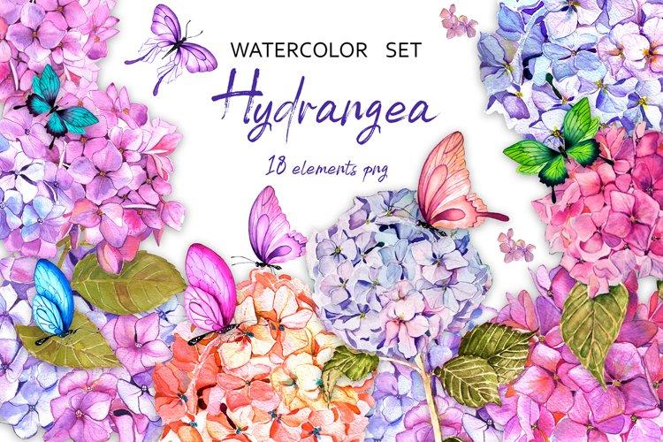 Hydrangea garden watercolor clipart example image 1