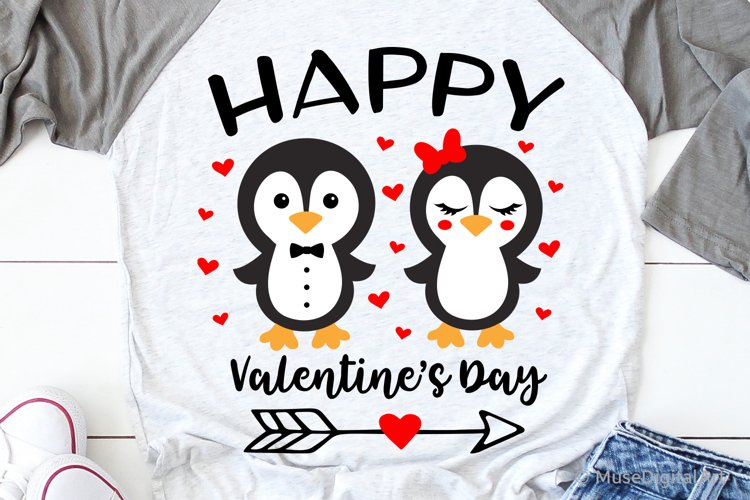 Happy Valentines Day Svg, Cute Penguin Svg, Funny Kids Svg example image 1