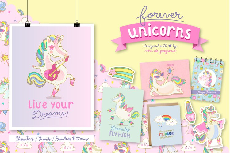Forever Unicorns. Cute Collection example image 1