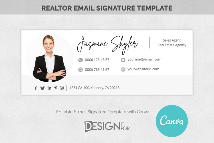 Email Signature Template Logo Realtor, Real Estate E-mail