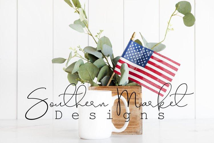 Patriotic 15 oz Coffee Cup Mug Digital Mock Up Styled Photo