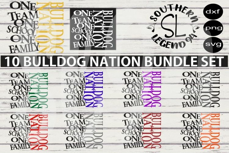 Bulldog Nation bundle set dxf svg png