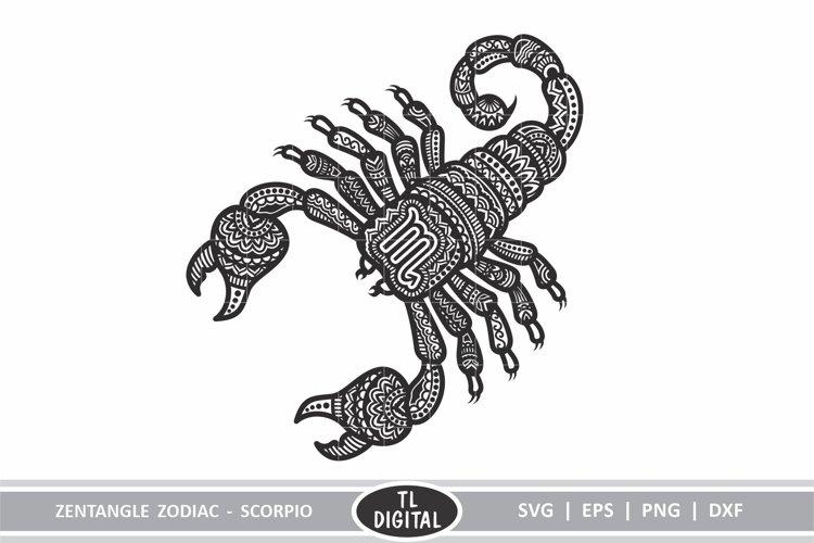 Zodiac Zentangle - Scorpio / Scorpion - SVG | EPS | PNG |DXF example image 1