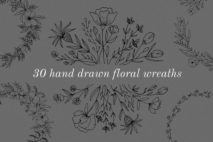 30 Hand drawn floral wreath. Simple line drawing. example image 1