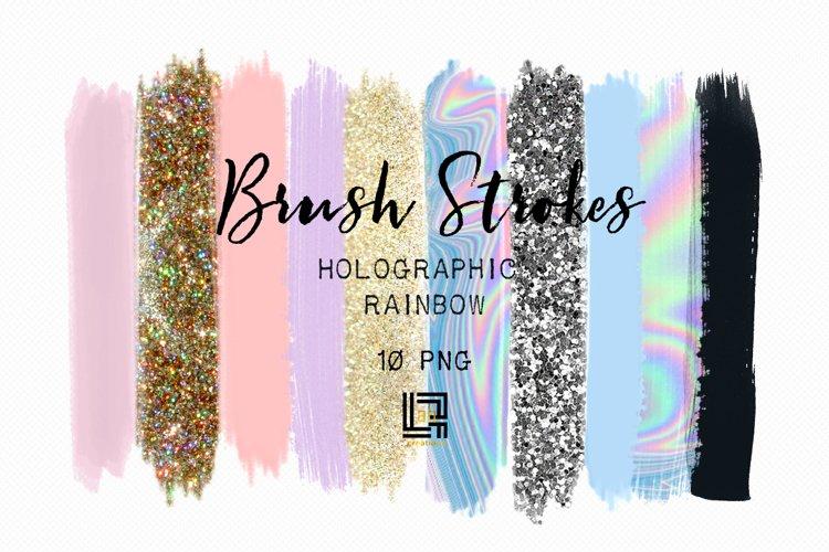Brush Strokes Clip Art. Holographic rainbow. Holographic colors: silver glitter, light purple, gold glitter, purple Digital Design Resource. example image 1
