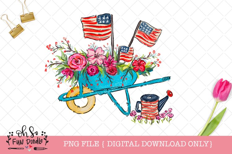 Patriotic American flag wagon, whimsical Sublimation design example image 1