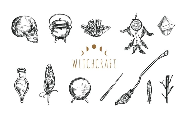 Witchcraft and Magic occult vintage svg bundle example image 1