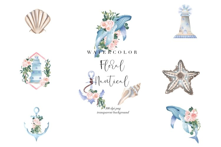 Nautical Floral Watercolor Clipart, Transparent PNG, Summer example image 1