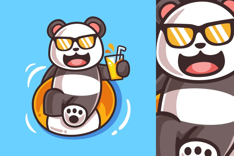 Cartoon Panda with Swimming Ring Illustration