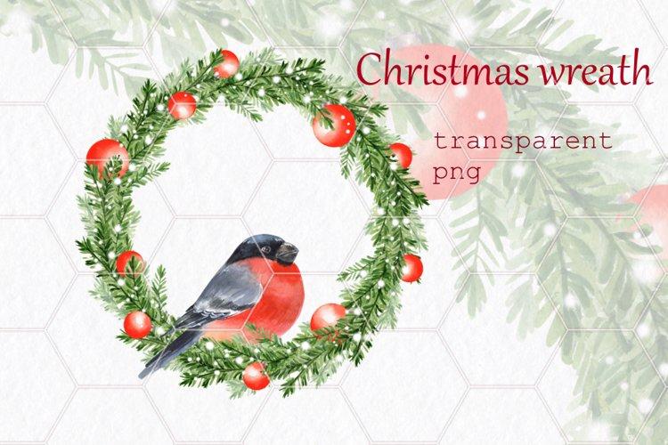 Christmas wreath with bullfinch. Watercolor example image 1