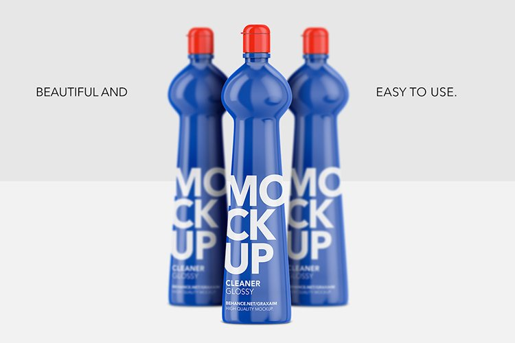 Cleaner Bottle Mockup - Glossy - Front View