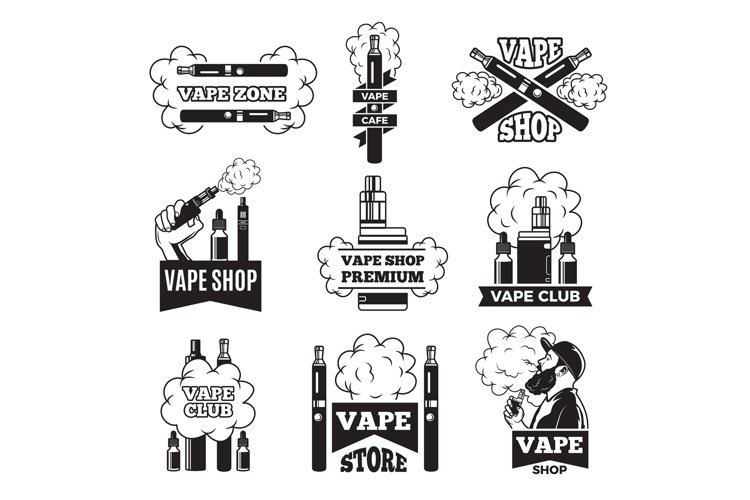 Badges and labels with illustrations of vapor from electric