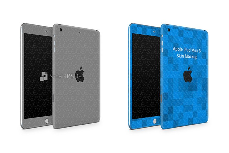 iPad Mini 3 Tablet Skin Design Template Front-Back Angled example image 1