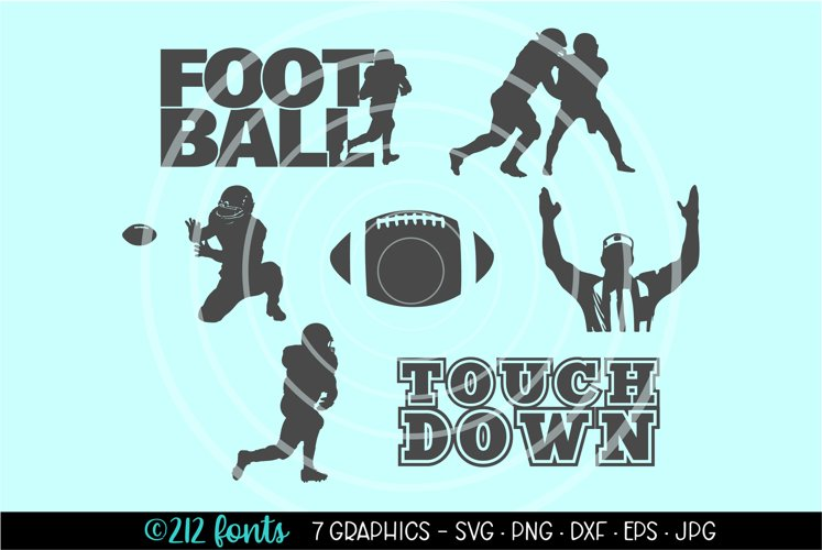 Football Graphic Silhouette Clip Art Cut Files DXF PNG SVG example image 1