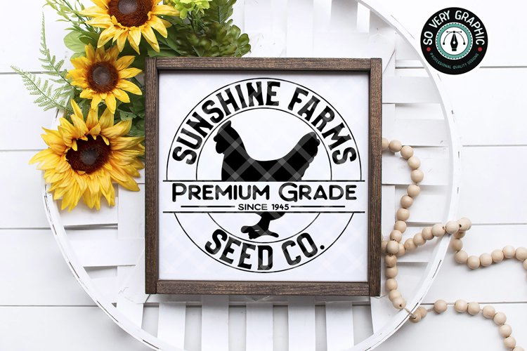 Sunshine Farms Seed Co Hen Farmhouse Round Sign SVG Cut File example image 1