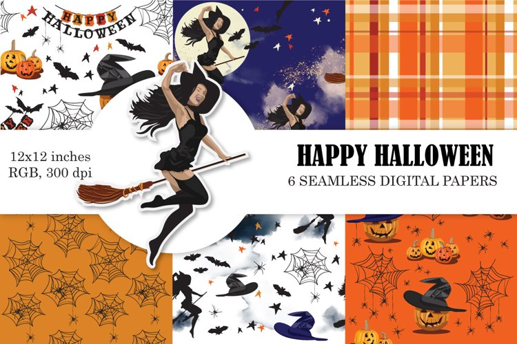 Halloween Digital Paper, Seamless Patterns