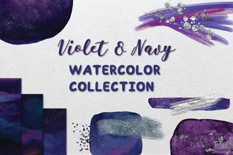 Violet and Navy Watercolor Collection example image 1