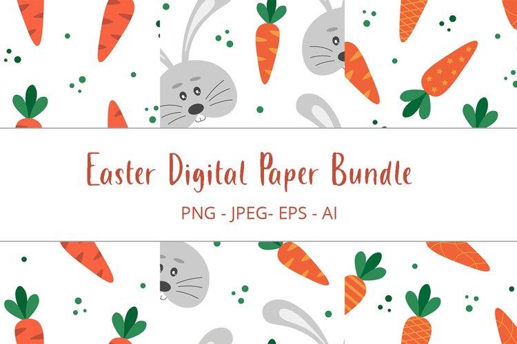 Digital Paper Easter Bundle. Easter Carrots. Easter Bunny.