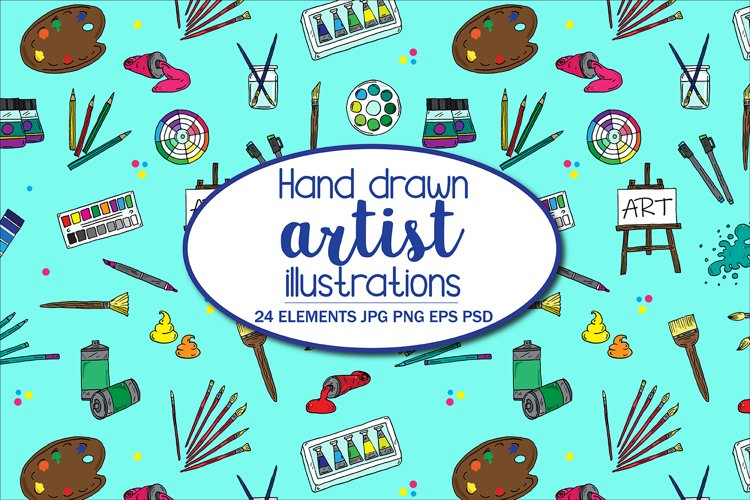 Hand Illustrated Artist Tools Paintbrushes and Paints example image 1