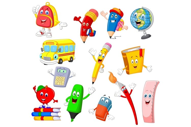 Set of Thirteen Cartoon School Supplies Character example image 1
