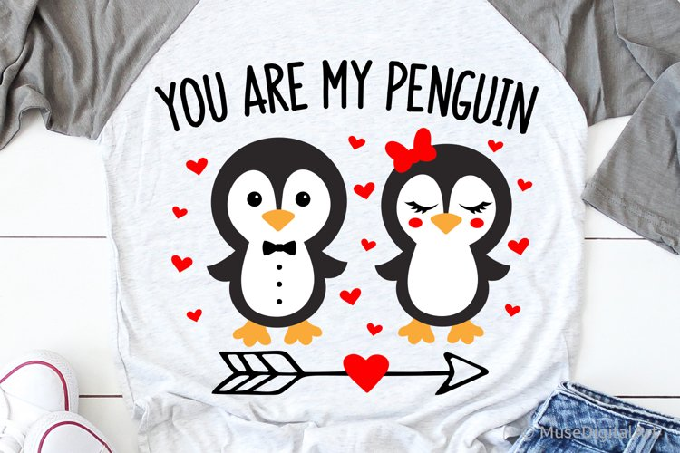 Valentines Day Svg, You Are My Penguin Svg, Kids Valentines example image 1