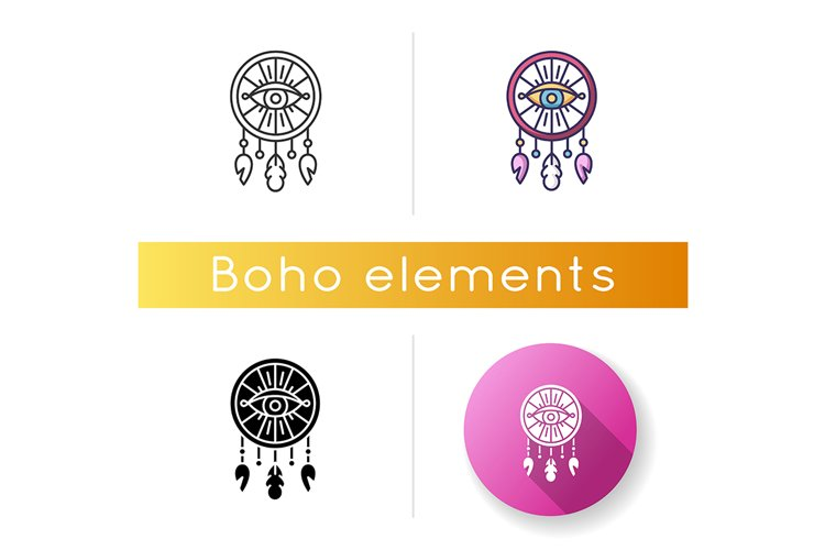 Boho style dreamcatcher with all seeing eye icon example image 1