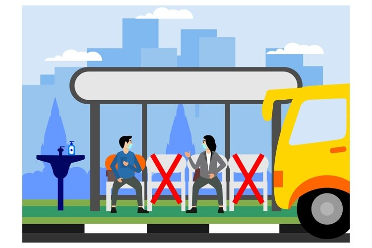 Social distancing on Bus stopflat ilustration example image 1