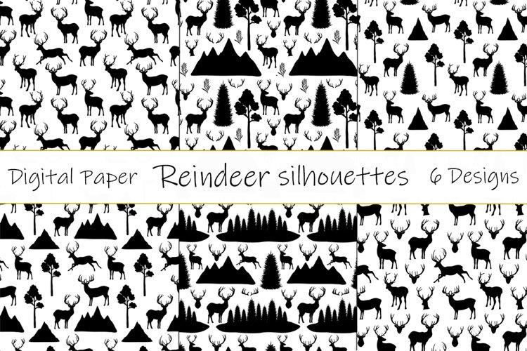 Reindeer pattern. Reindeer silhouettes pattern. Reindeer SVG example image 1