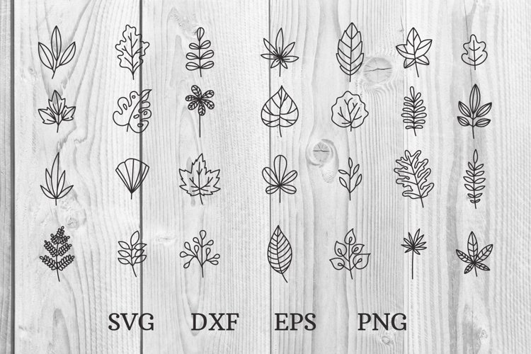 hand drawn doodle leaves svg cut files example image 1