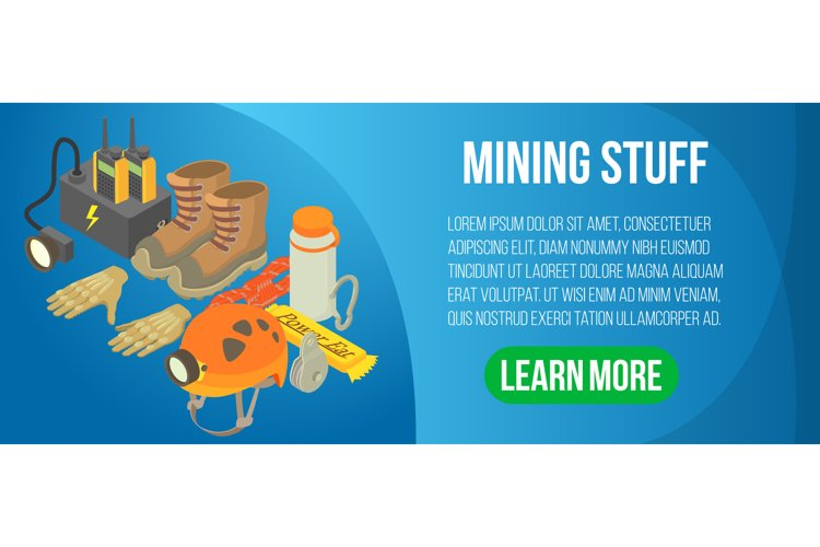 Mining stuff concept banner, isometric style example image 1