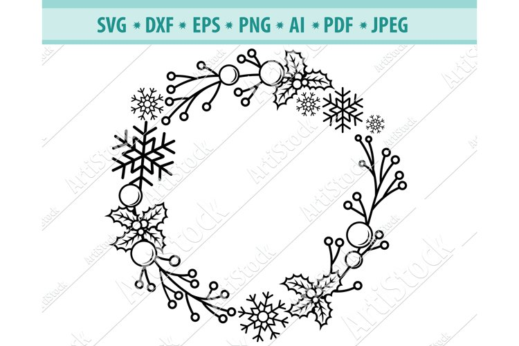 Christmas wreath svg, Holiday svg, Snowflakes Png, Dxf, Eps example image 1