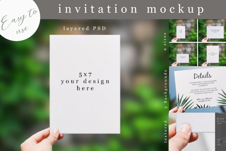 Invitation Mockup 4 sizes. Realistic PSD mockup