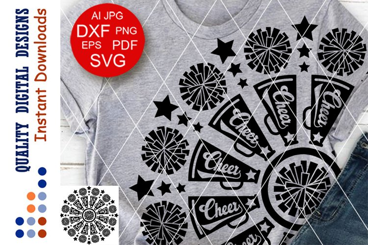 Mandala cheer leading svg clip art Pom poms Megaphones svg