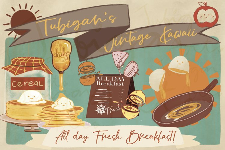 31 PNG Vintage Kawaii All Day Breakfast