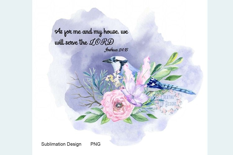 Blue Bird with Flowers and Verse PNG example image 1